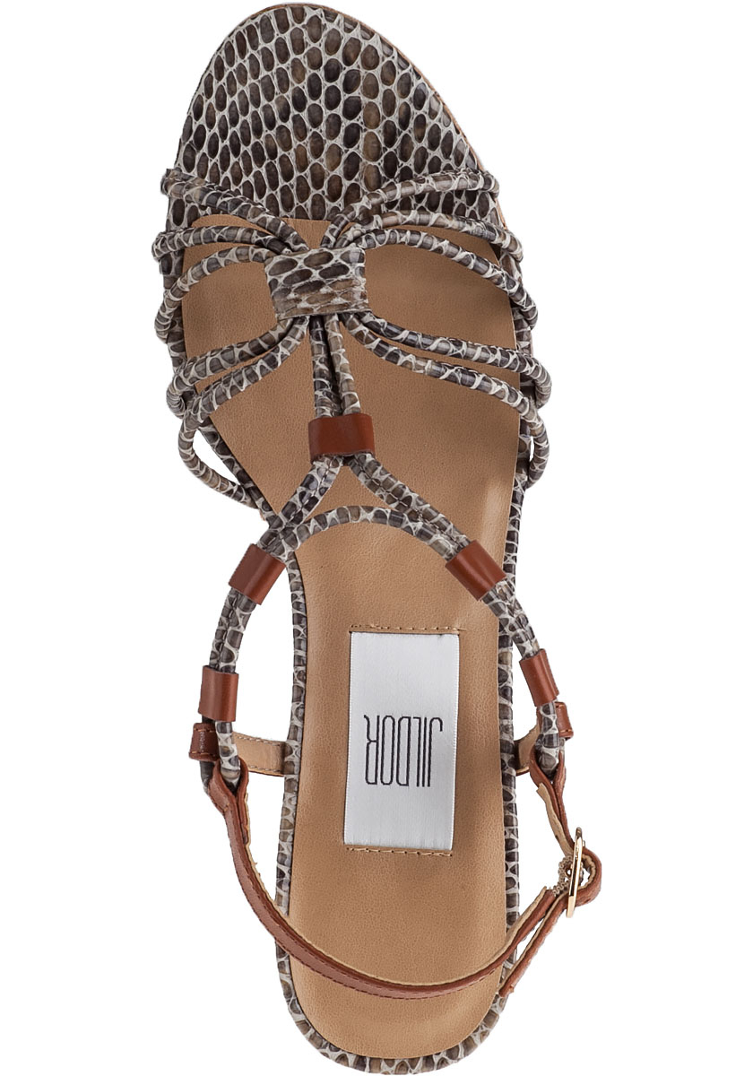 Vaneli Leather Pluto Wedge Sandal Taupe Snake In Brown Lyst