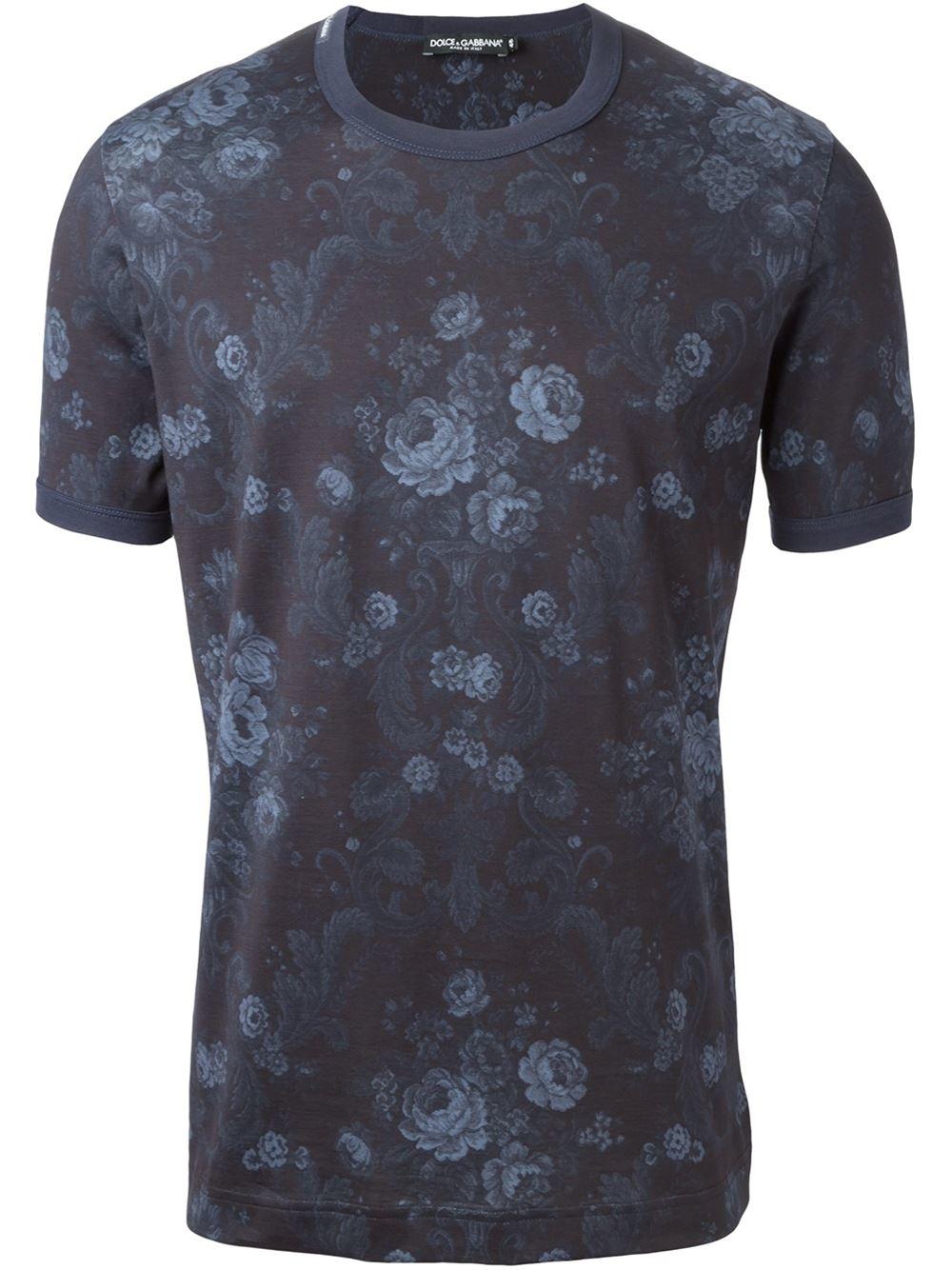 dolce gabbana baroque flower print t shirt in blue for men lyst. Black Bedroom Furniture Sets. Home Design Ideas