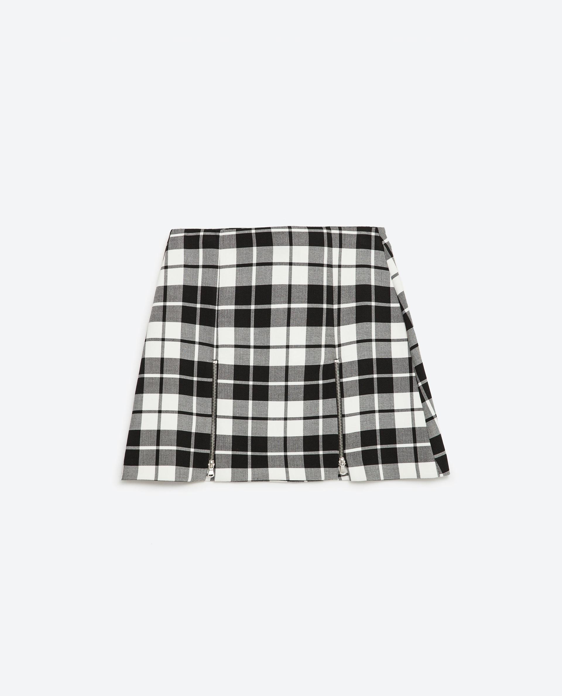 Zara Check Miniskirt in Black | Lyst