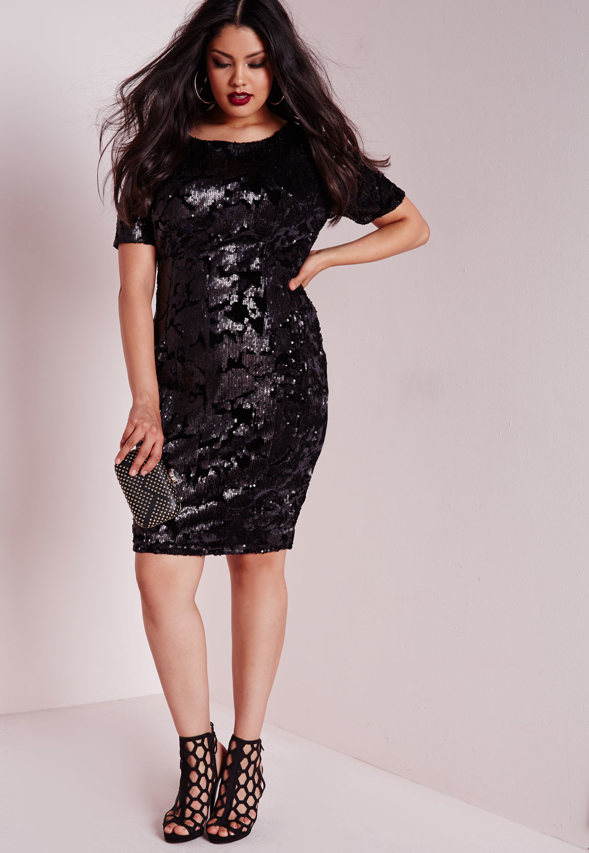 Lyst - Missguided Plus Size Sequin Dress Black In Black