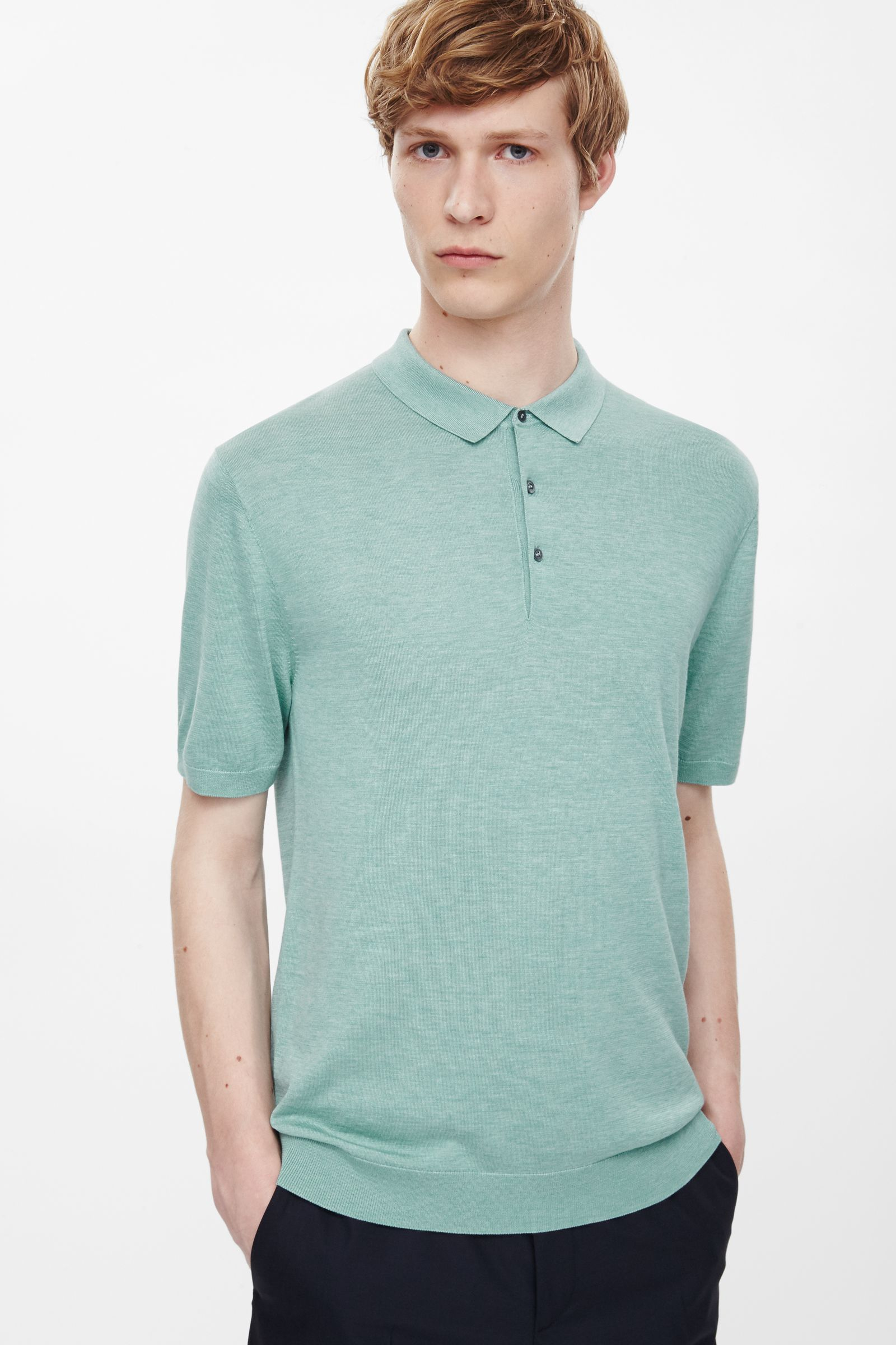 Cos Silk Cotton Polo Shirt In Green For Men Mint Green