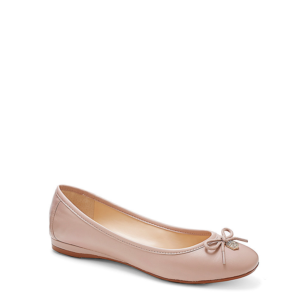 Vince Camuto Ria Leather Ballet Flat In Natural Lyst