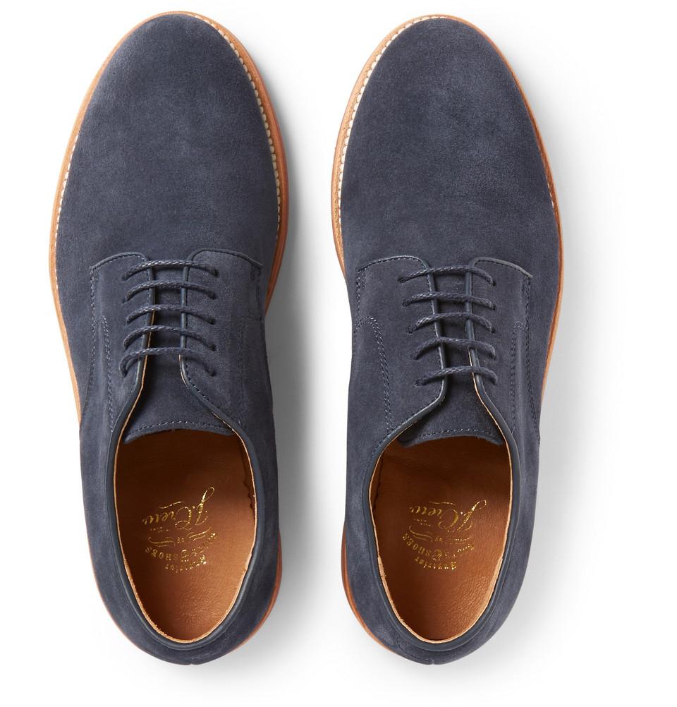 Lyst J Crew Kenton Suede Derby Shoes In Blue For Men