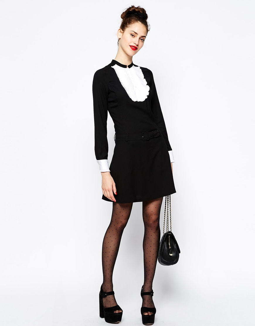 d111f7a69b8f8 Love Moschino Black Long Sleeve Dress with Ruffle Bib Front and Cuff