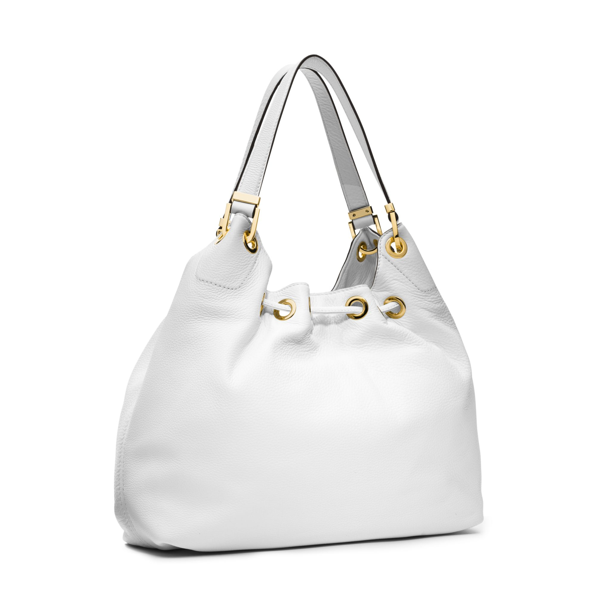 Michael kors Camden Large Leather Shoulder Bag in White | Lyst
