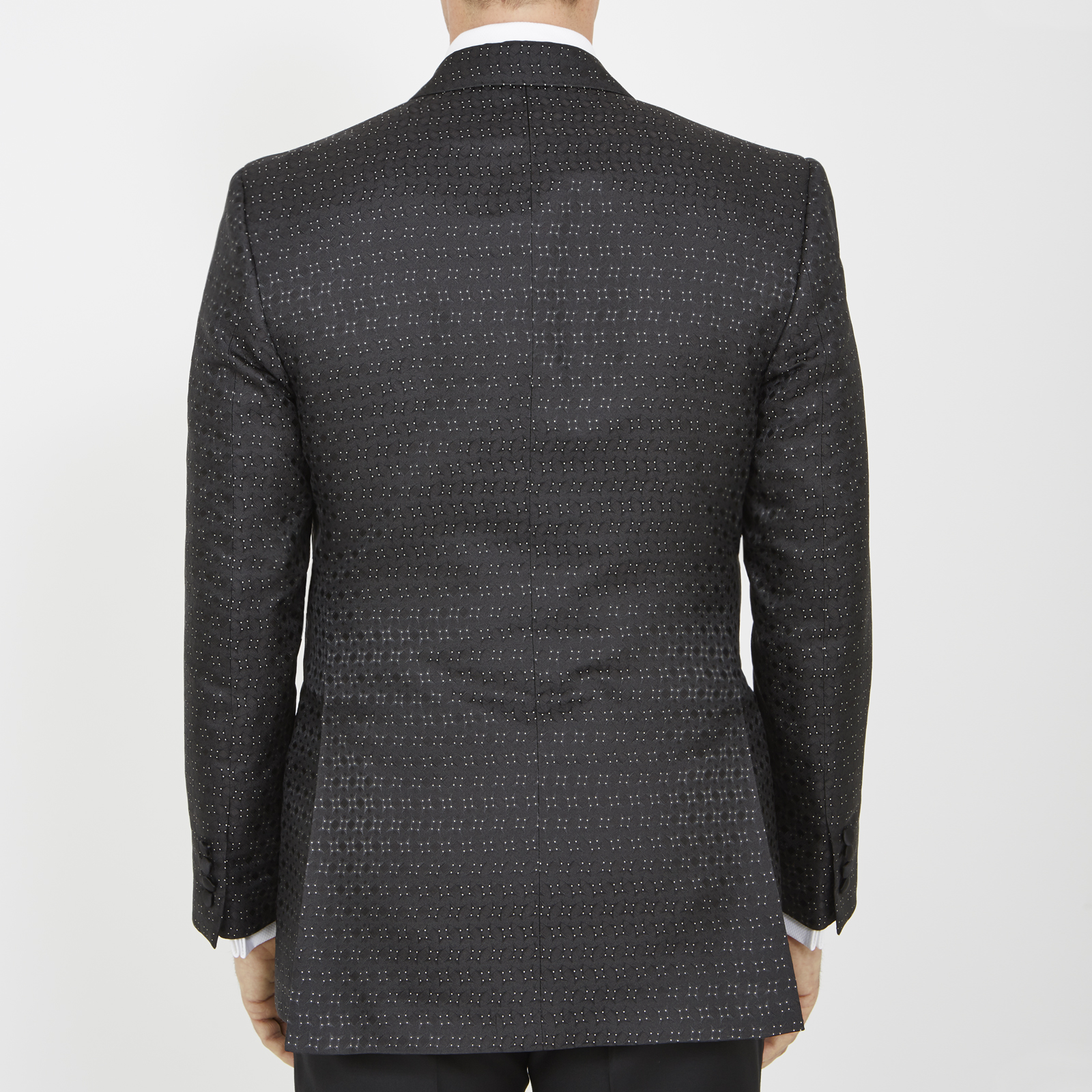 Turnbull & Asser Exclusive Triangle Shiny Dots Black Silk Tuxedo Jacket in Grey for Men