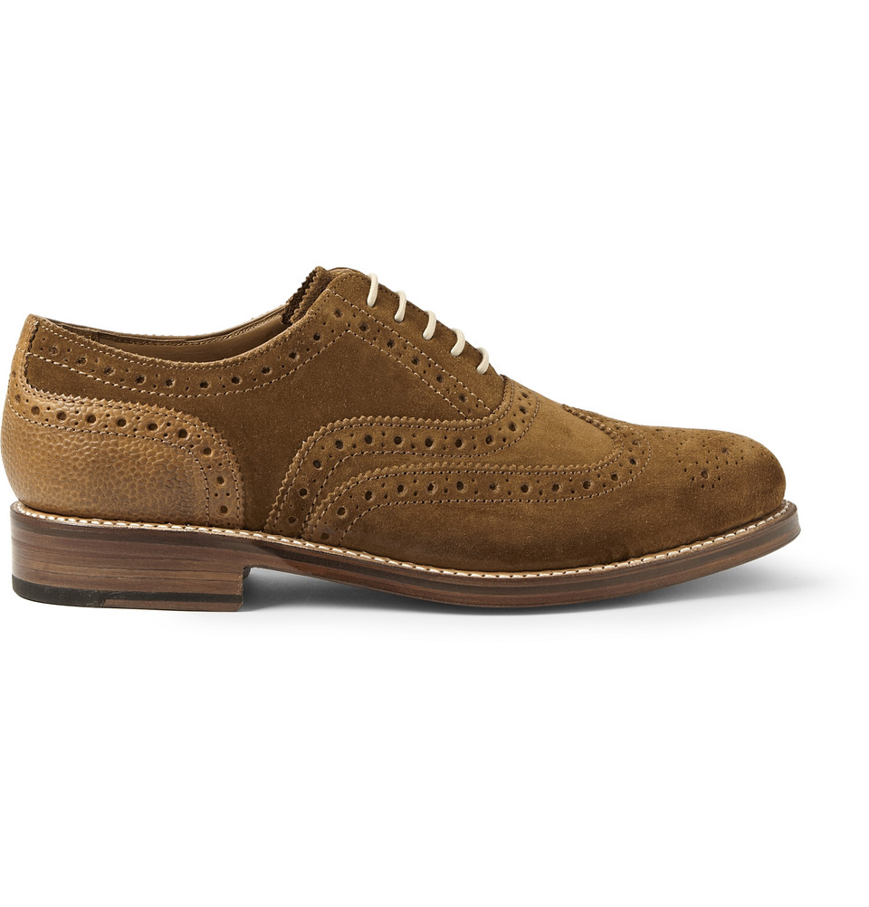 Foot The Coacher Stanley Suede and Pebbled Leather Wingtip Brogues in Brown for Men