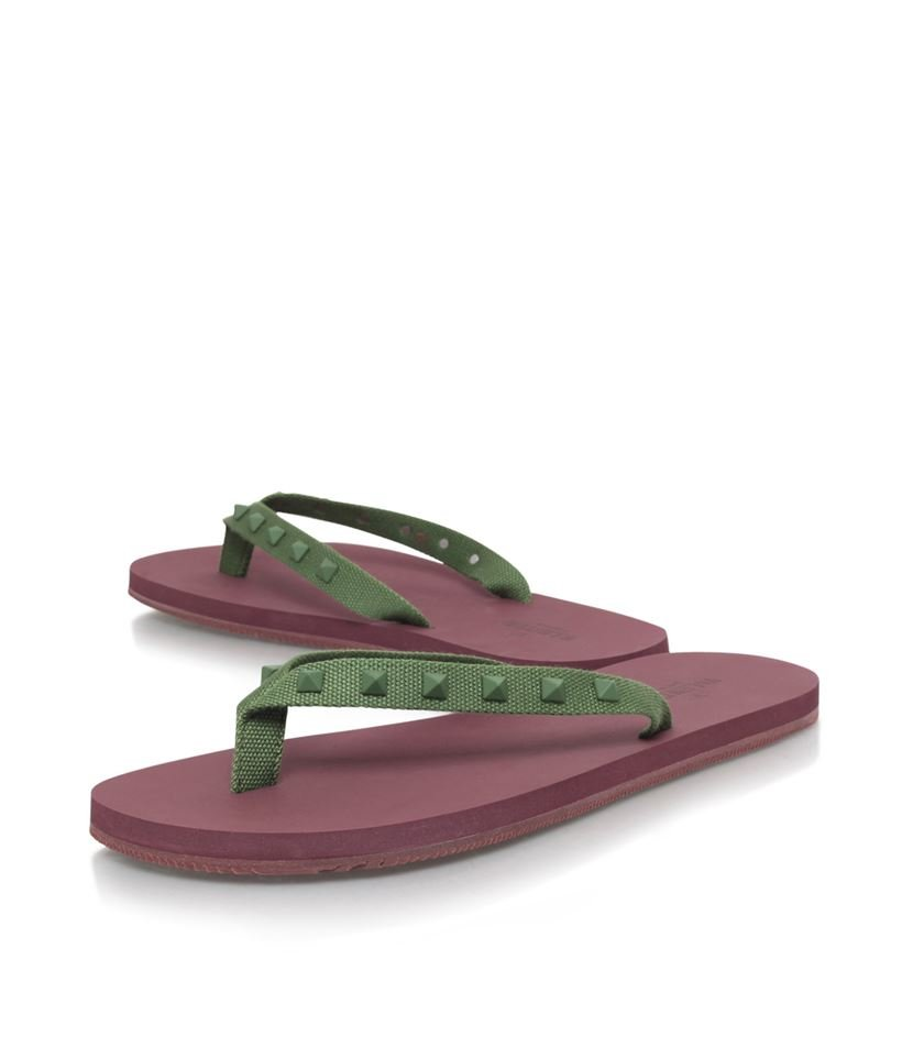 valentino rockstud flip flop in purple lyst. Black Bedroom Furniture Sets. Home Design Ideas