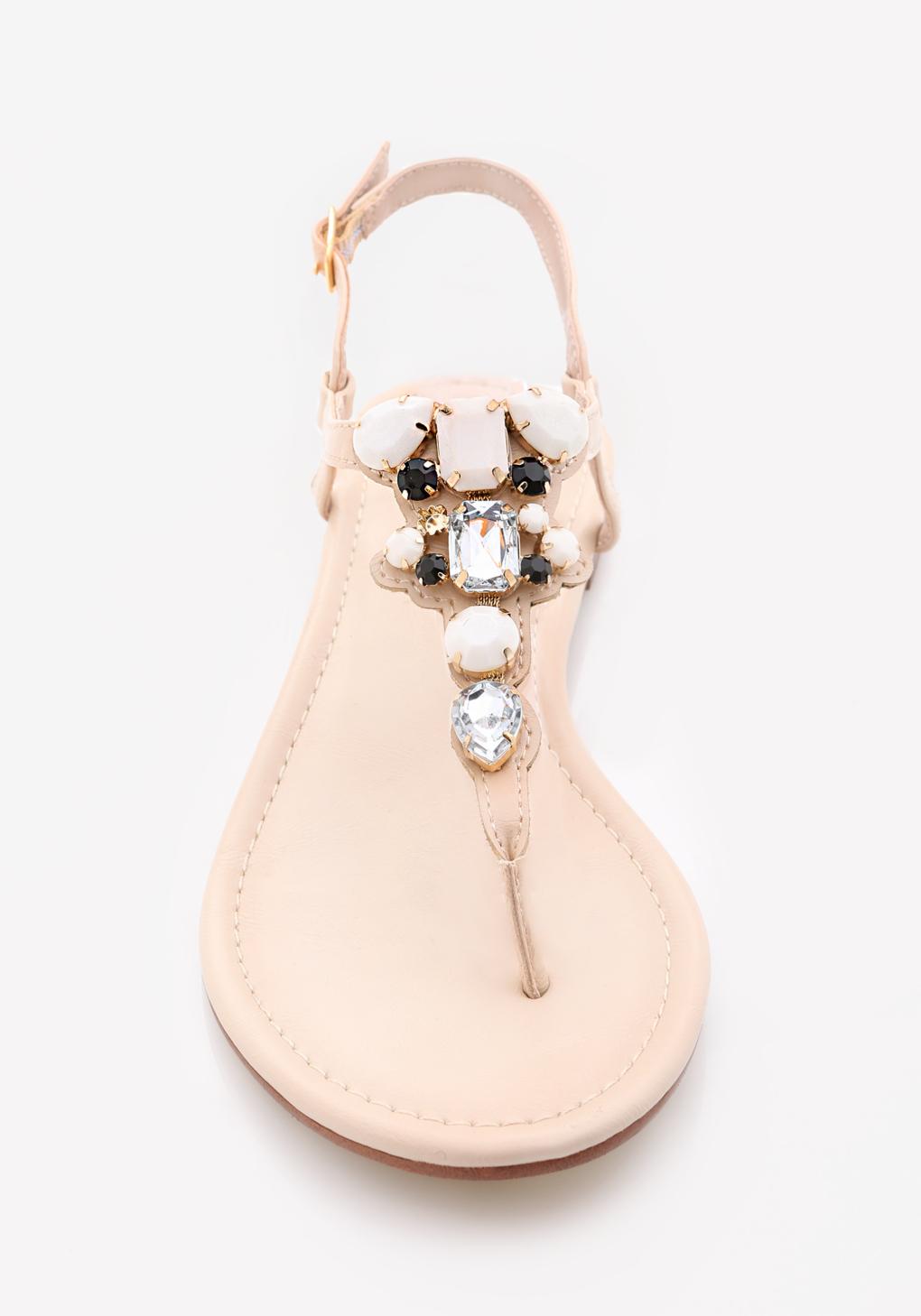 c504f19febf096 Bebe Shaya Jeweled Flat Sandals in Pink - Lyst