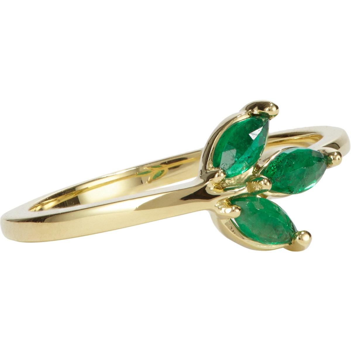 finn emerald gold leaf ring in green lyst