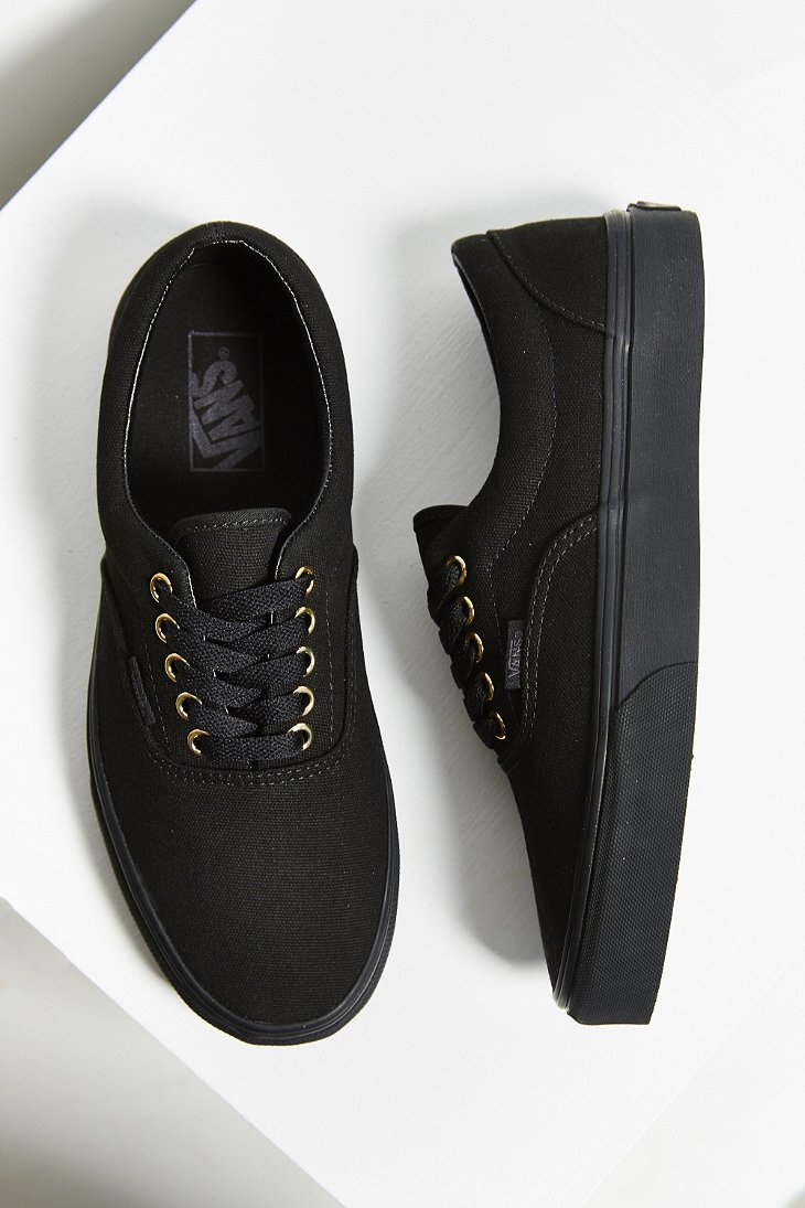 authentic black leather vans with gold