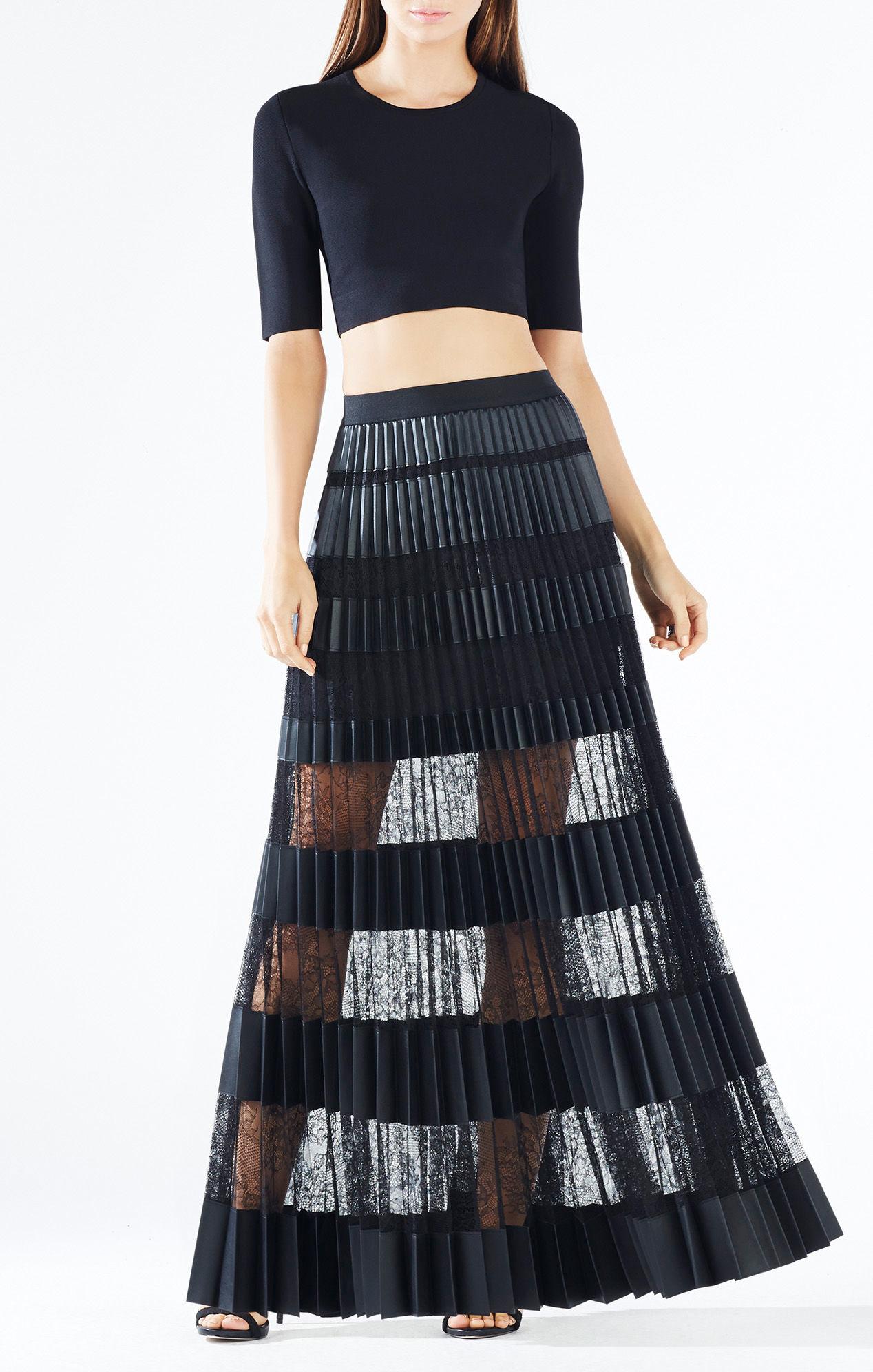 bcbgmaxazria krissy faux leather striped maxi skirt in