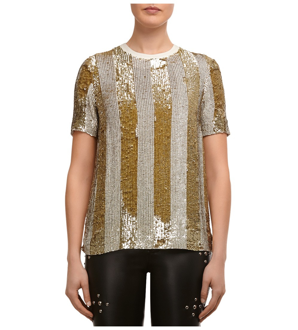 Beau Souci Vertical Stripe Sequin Top In Gold Gold