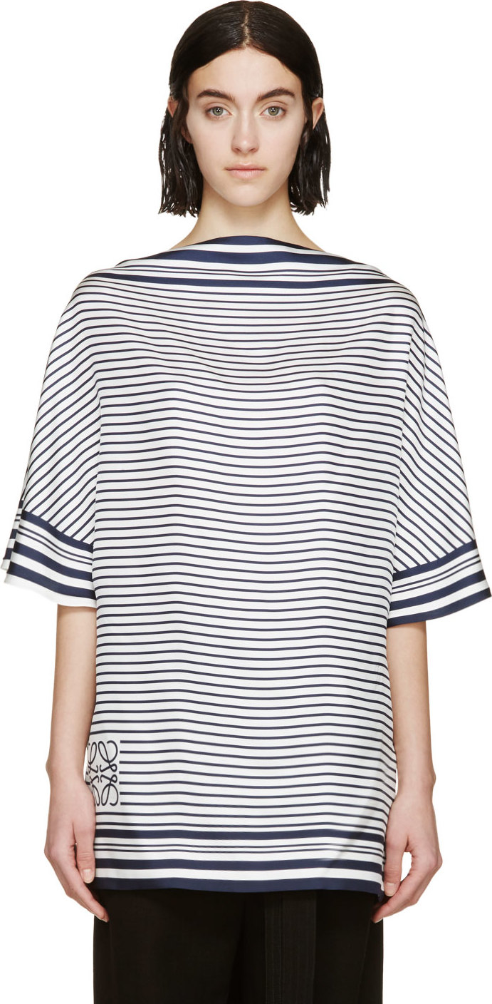 Loewe Navy And White Striped Scarf Top In Blue Lyst