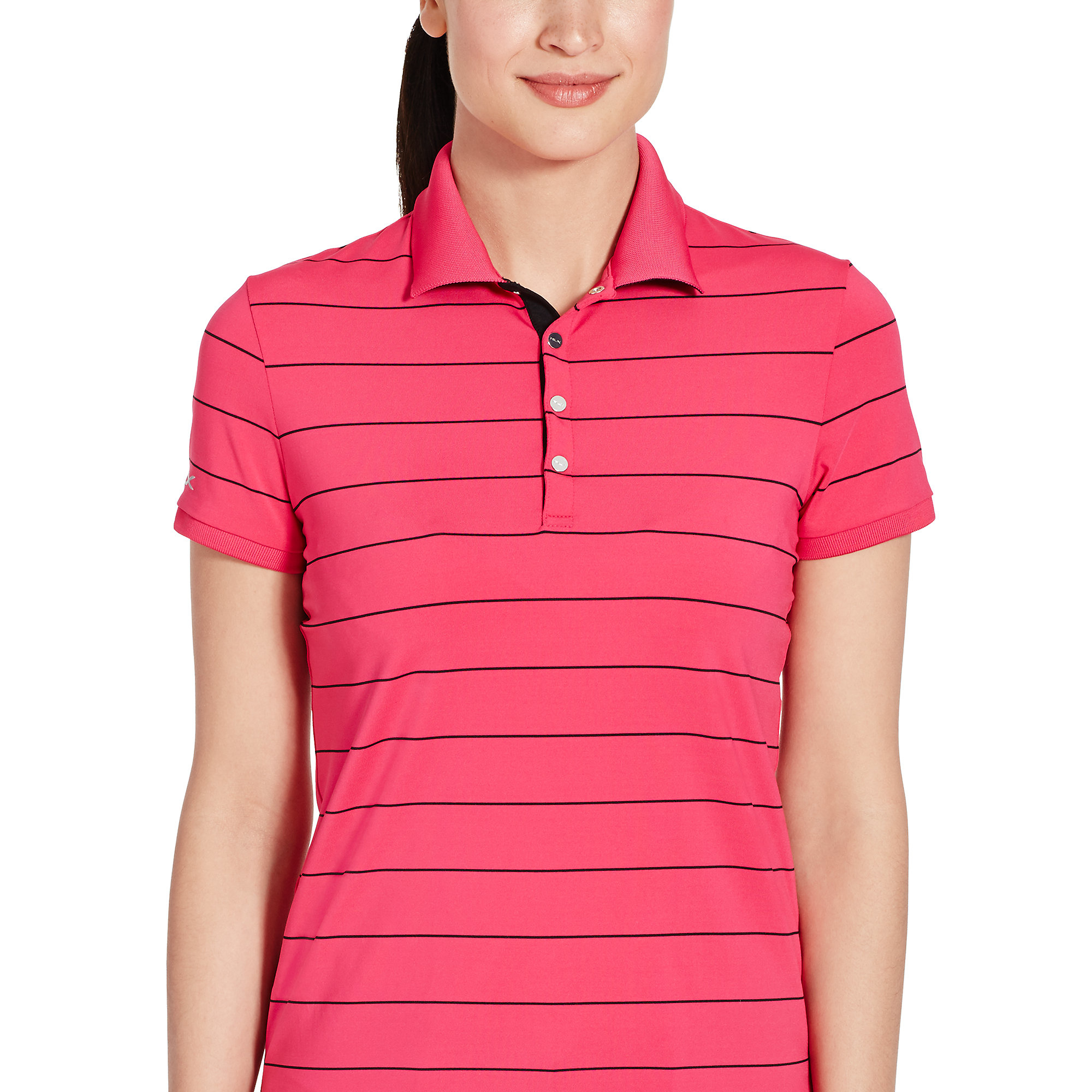 Ralph lauren striped stretch polo shirt in pink pink w for Pink white striped shirt