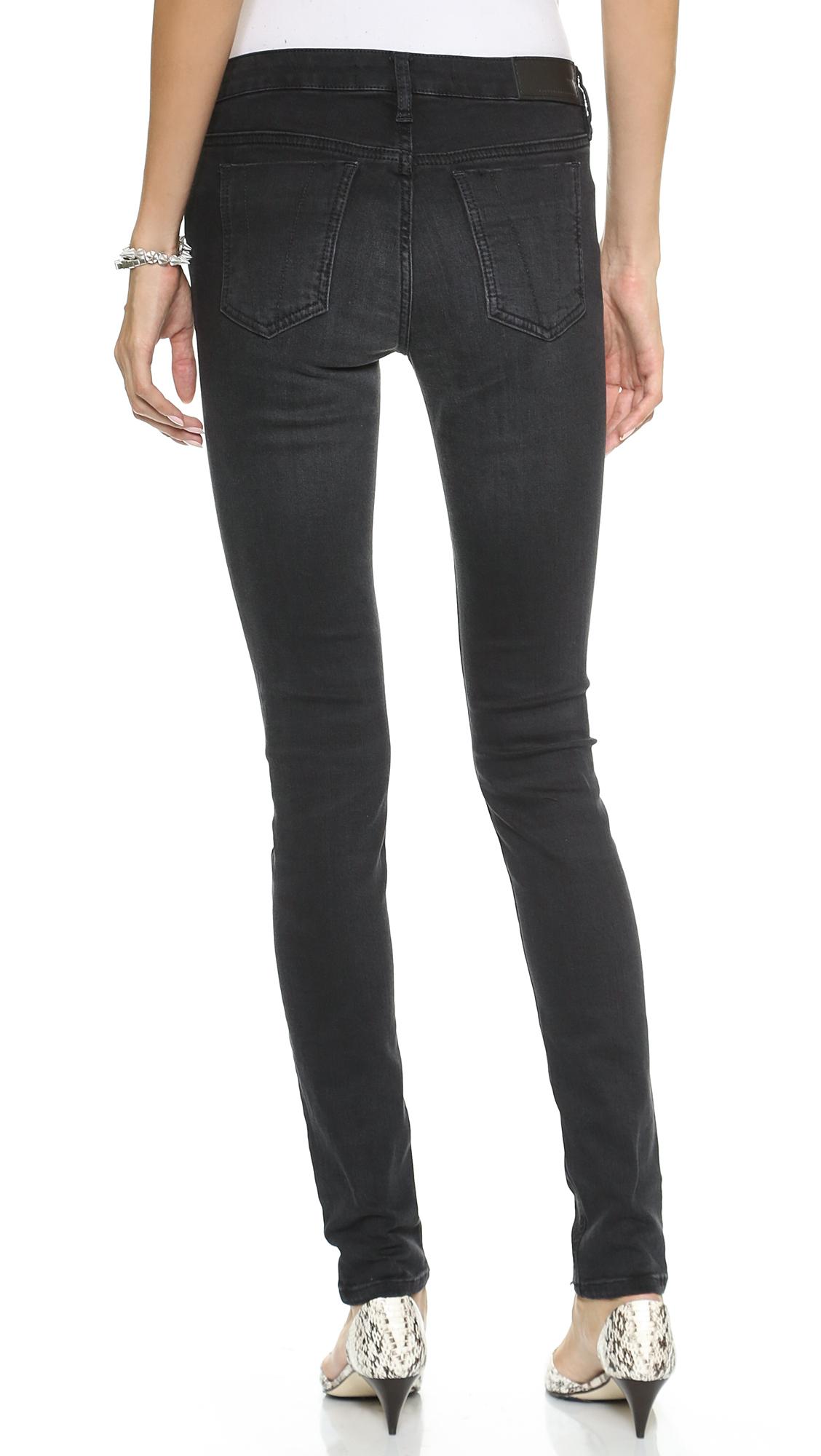 victoria beckham super skinny jeans washed black in black washed black lyst. Black Bedroom Furniture Sets. Home Design Ideas