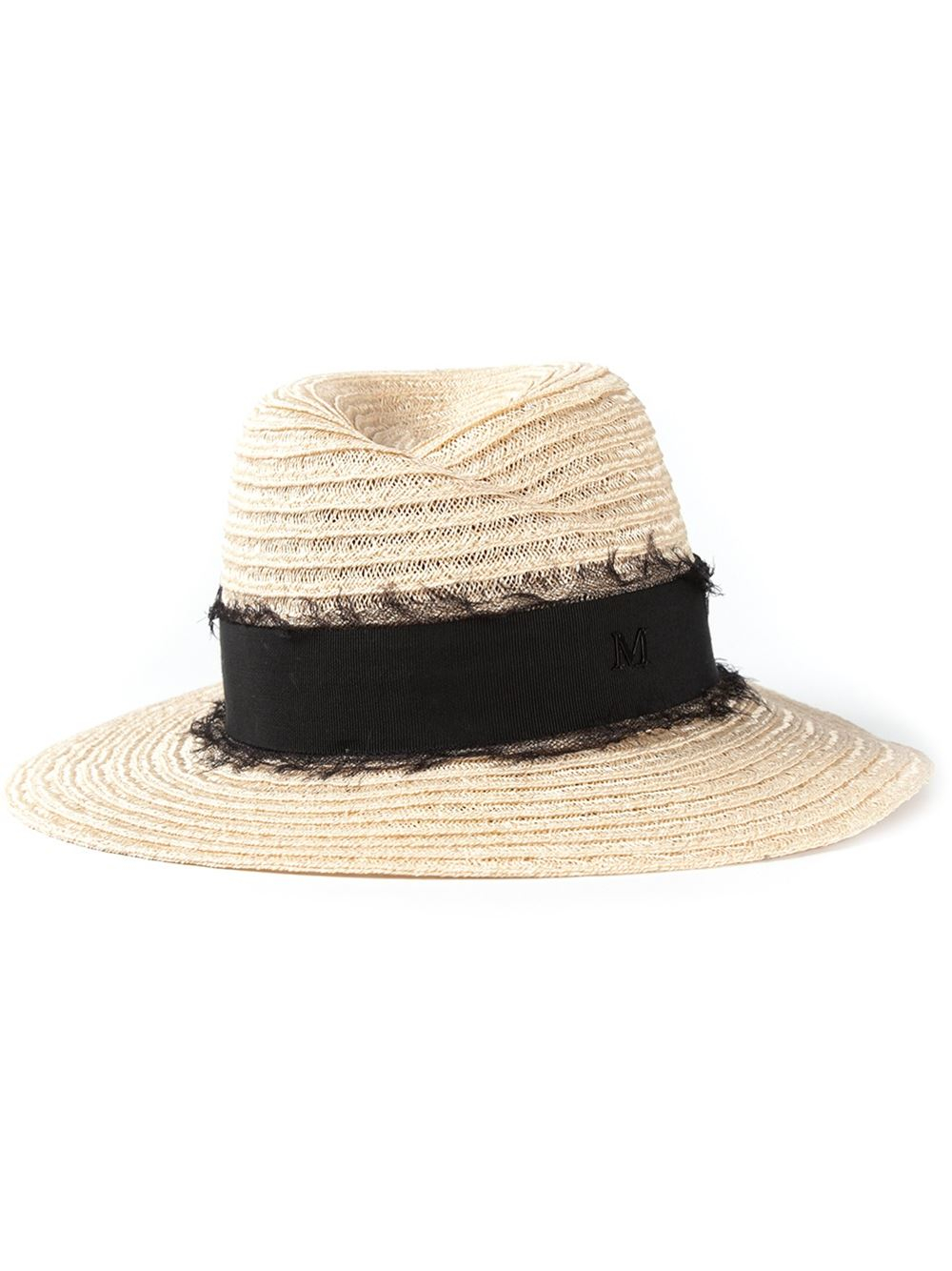 Maison michel 39 virgine 39 trilby hat in beige nude for Maison michel