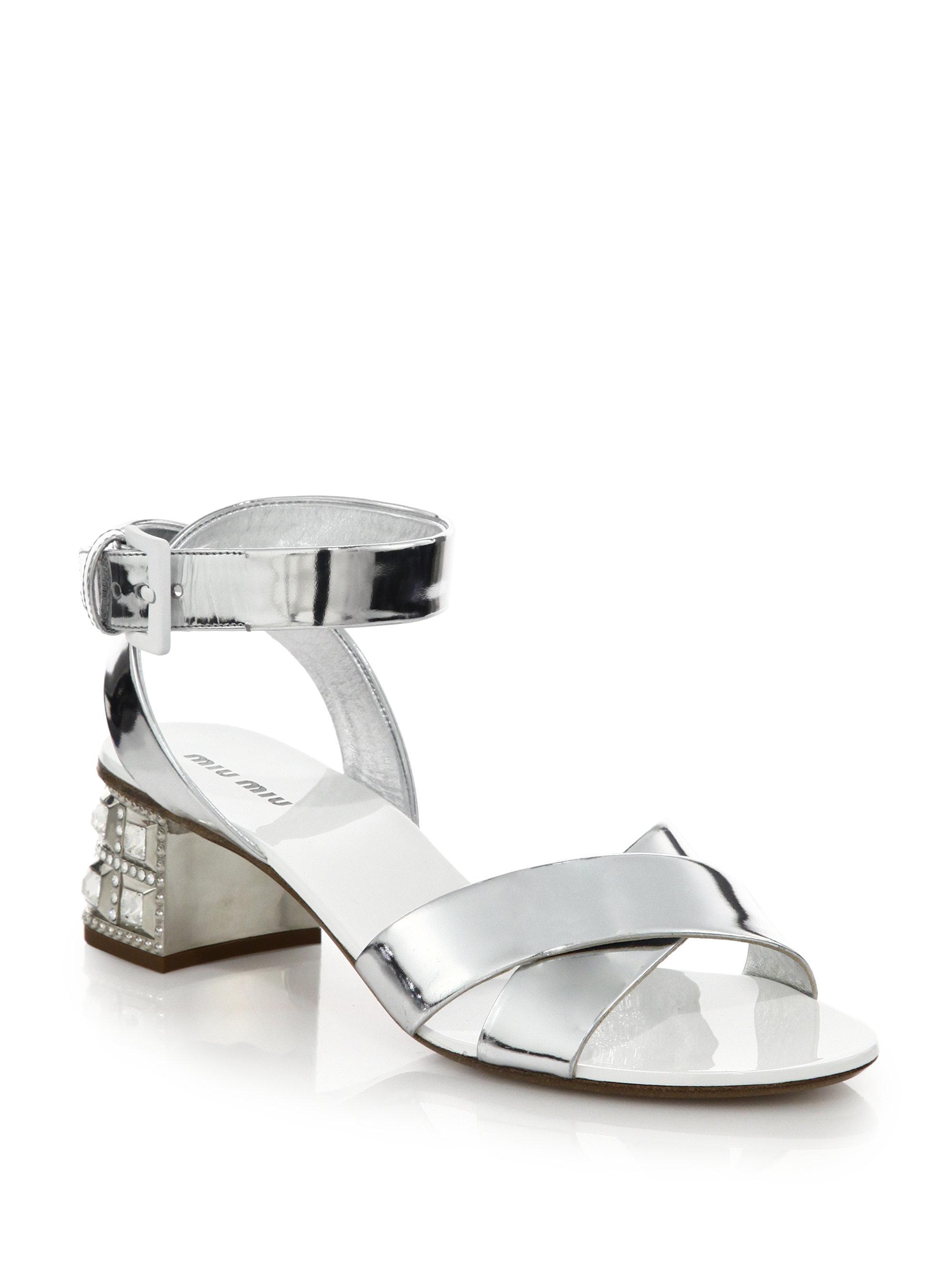 lyst miu miu jeweled heel sandals in metallic. Black Bedroom Furniture Sets. Home Design Ideas