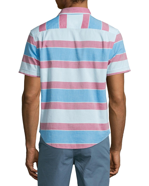 Original penguin large horizontal stripe sport shirt in for Horizontal striped dress shirts men