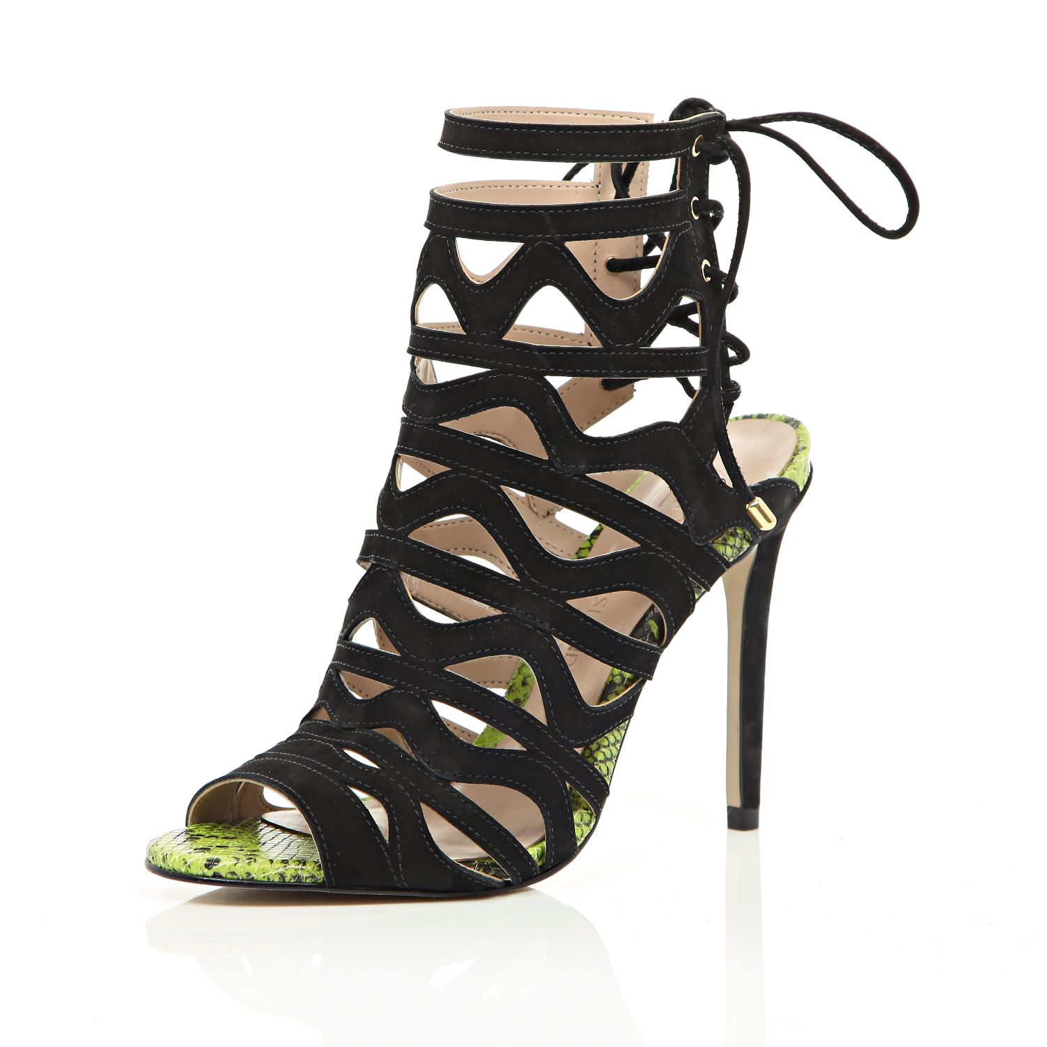0c89ac82b70 River Island Black Leather Caged Lace-up Stiletto Heels