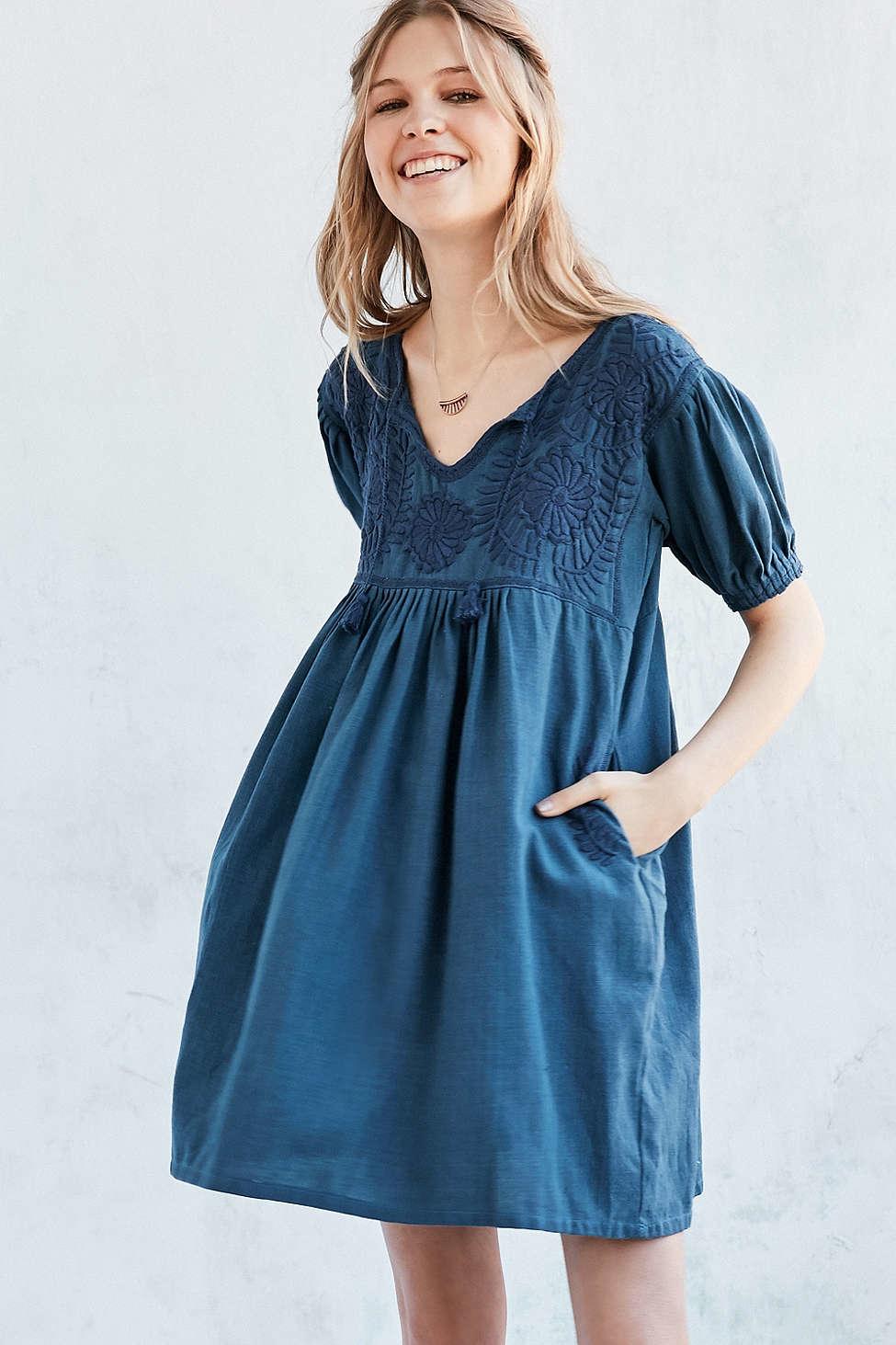 Lyst Carolina K Marganta Embroidered Yoke Babydoll Dress