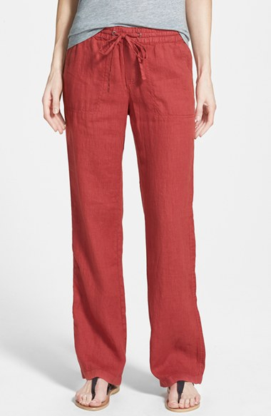 Caslon Drawstring Linen Pants In Red Cinder Red Lyst