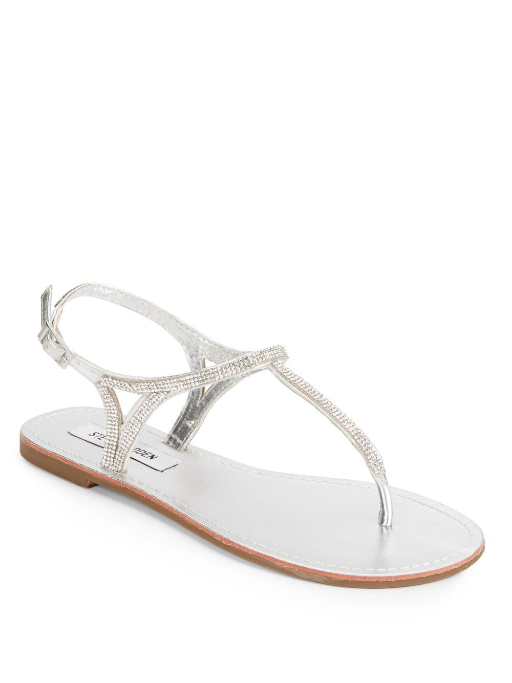 870b4cfa673bf Lyst - Steve Madden Rhinestone Thong Sandals in Metallic