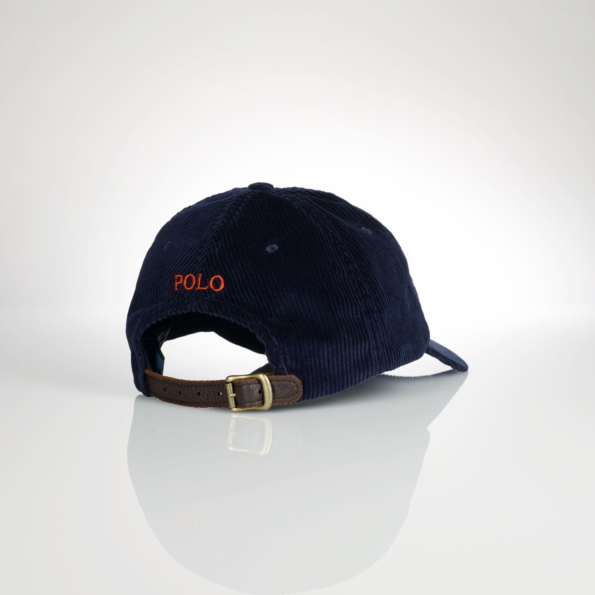 polo ralph lauren corduroy sports cap in blue for men lyst. Black Bedroom Furniture Sets. Home Design Ideas