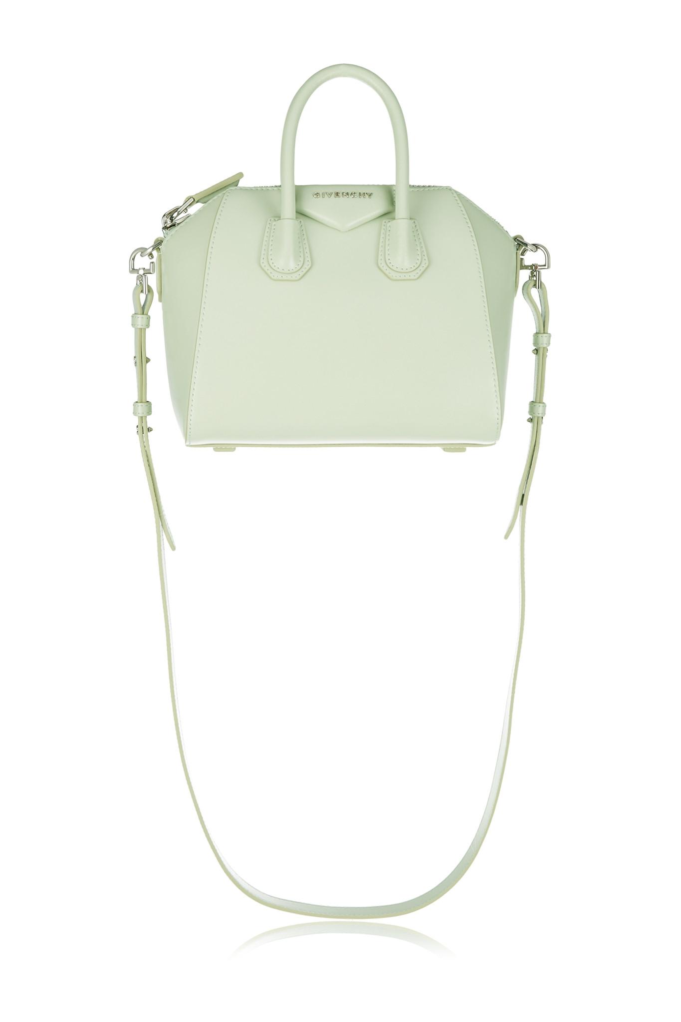 e73888b9c1e6 Lyst - Givenchy Mini Antigona Shoulder Bag In Mint Leather in Green