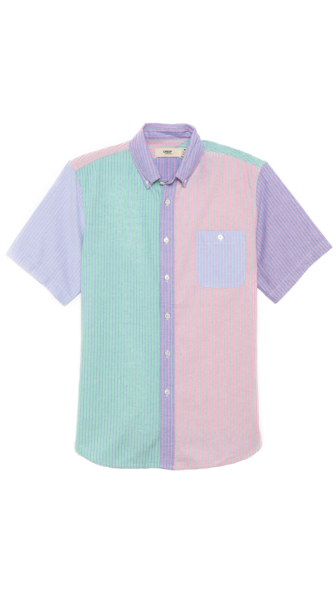 Creep Short Sleeve Button Down Shirt In Multicolor For Men