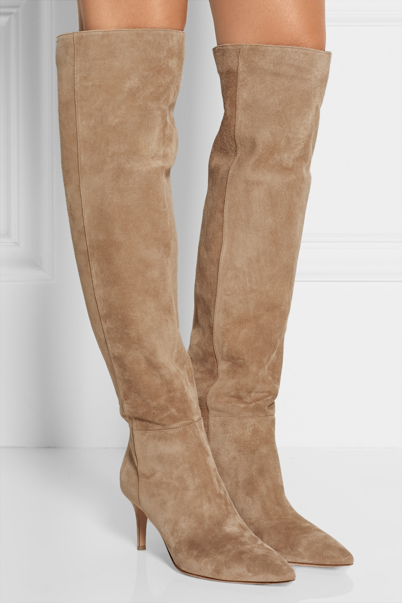 Gianvito Rossi - Suede Over-the-knee Boots - Beige in Natural