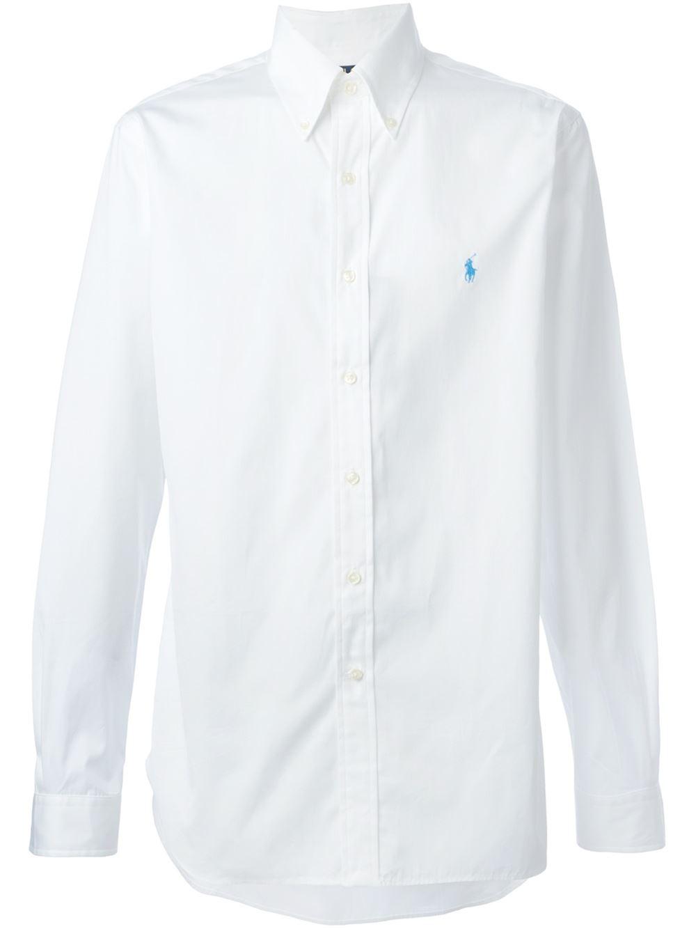 Polo ralph lauren button down shirt in white for men lyst for White button down shirt mens