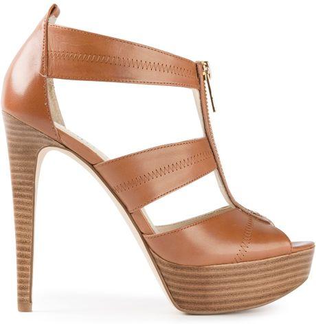 michael michael kors high heel sandals in brown lyst. Black Bedroom Furniture Sets. Home Design Ideas