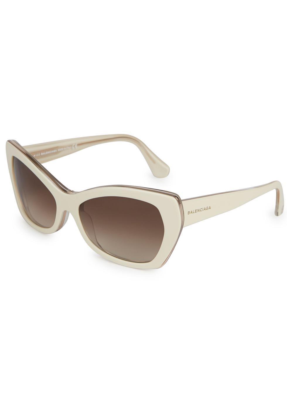 9ef5a52f46 Balenciaga Ivory Cateye Sunglasses in White - Lyst