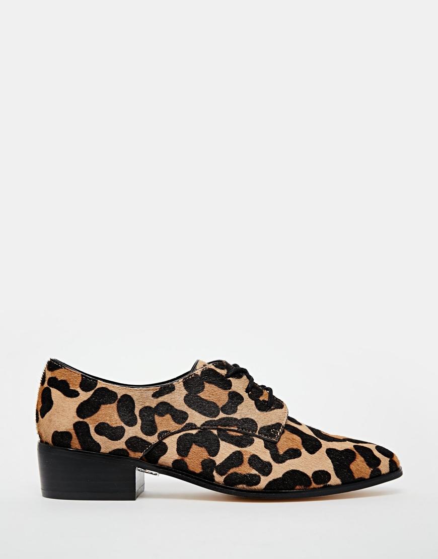 Dune Loris Animal Print Pony Effect Brogue Flat Shoes   Lyst