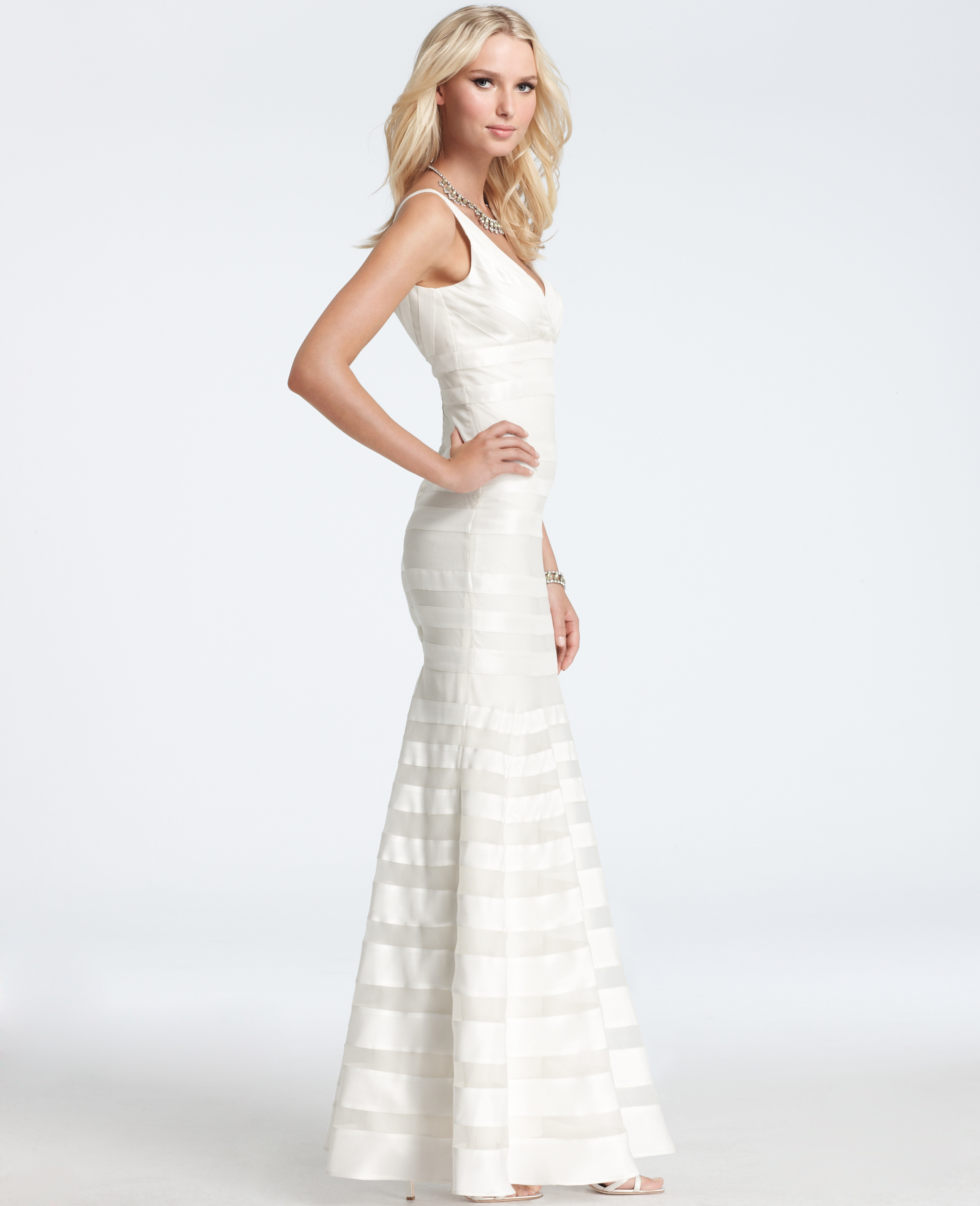 Ann taylor silk georgette mermaid wedding dress in white for Ann taylor dresses wedding