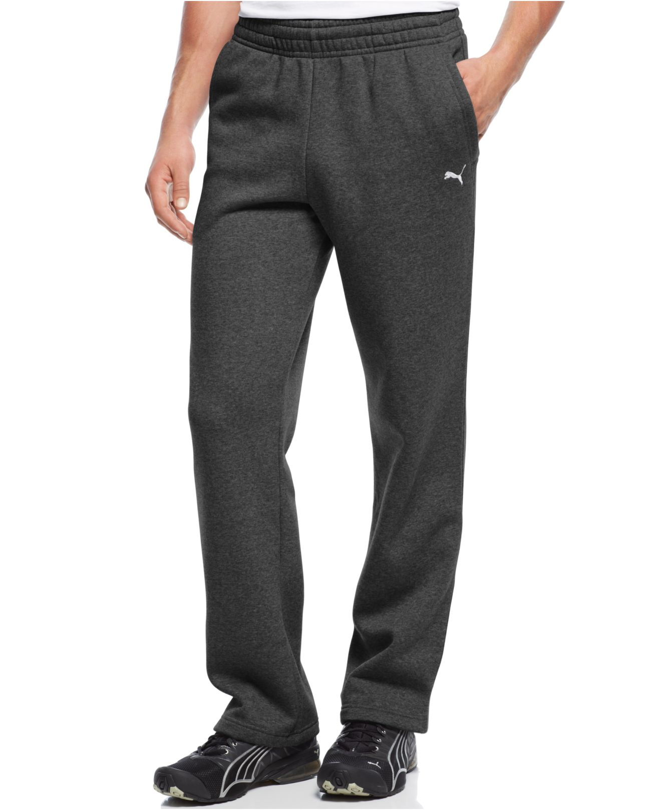 bd5635e4df PUMA Gray Men's Drawstring Fleece Sweatpants for men