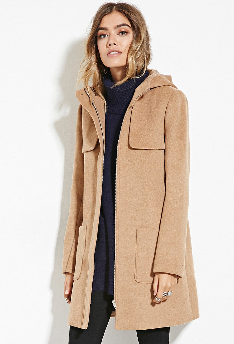 Lyst Forever 21 Hooded Wool Blend Coat You Ve Been Added