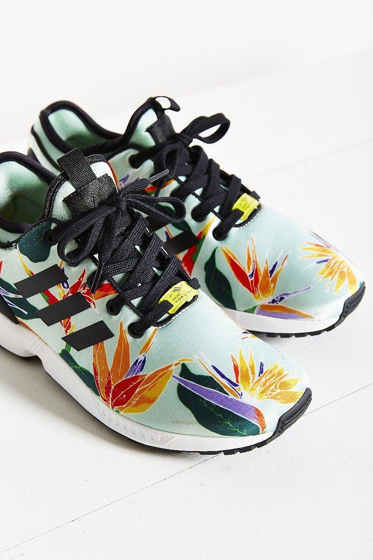new style 91490 9dadd Adidas Green Originals Zx Flux Tropical Running Sneaker