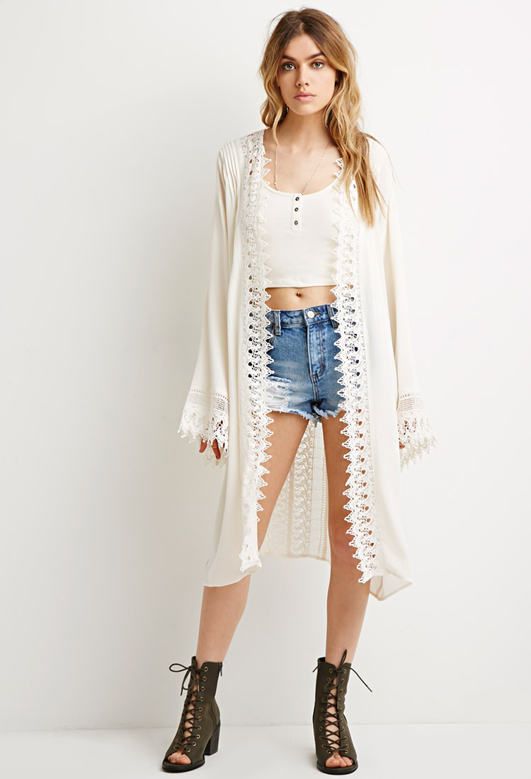 Forever 21 Longline Crochet-paneled Cardigan in Natural | Lyst