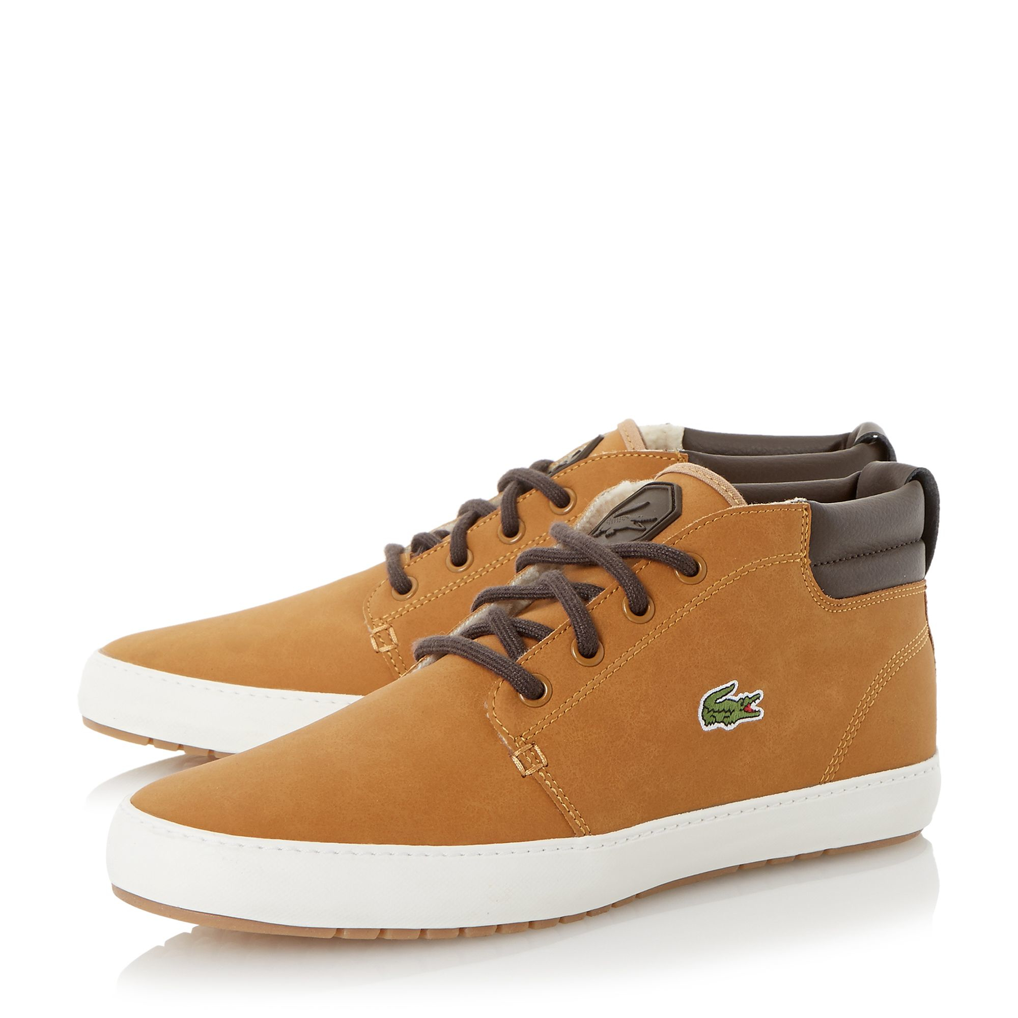 lacoste ampthill terra leather high top trainers in brown