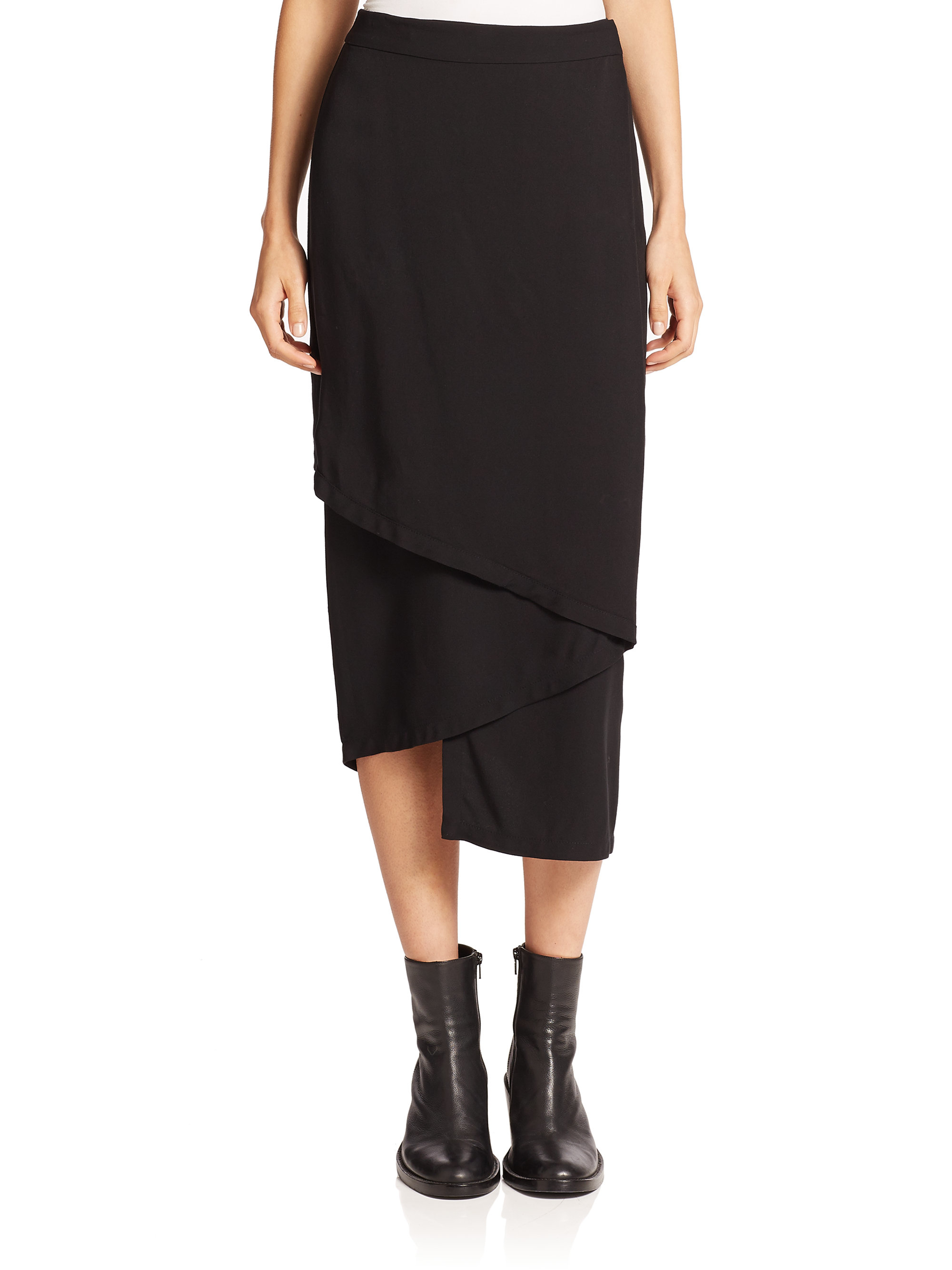 Dkny Midi Wrap Skirt in Black | Lyst