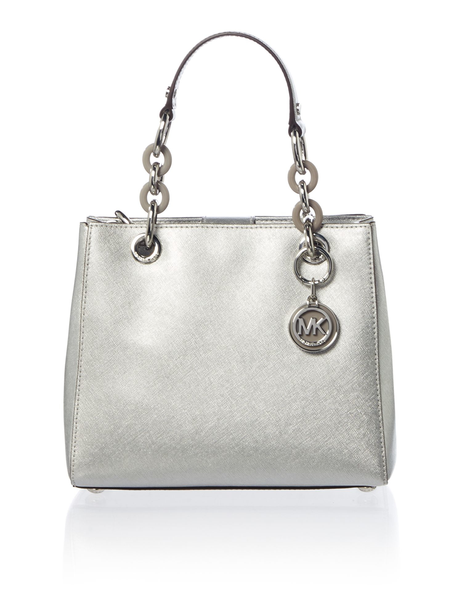 8f2a62d10320 Lyst - Michael Kors Cynthia Silver Small Satchel Bag in Natural