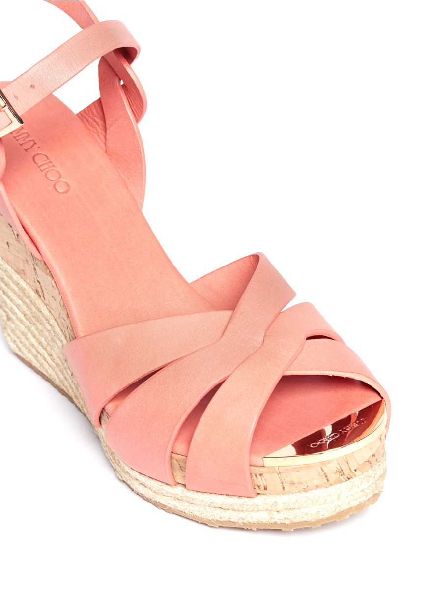 Jimmy Choo Pallet Leather Espadrille Wedge Sandals In Pink