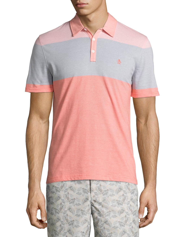 Original Penguin Striped Colorblock Polo Shirt In