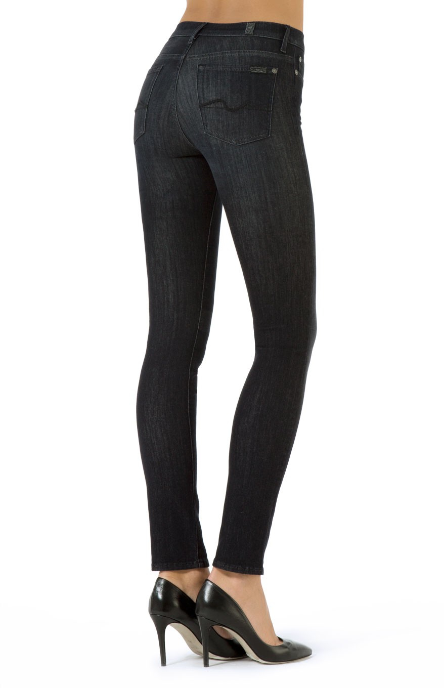7 For All Mankind Rozie Slim Illusion Noir in Black - Lyst 3436662ae