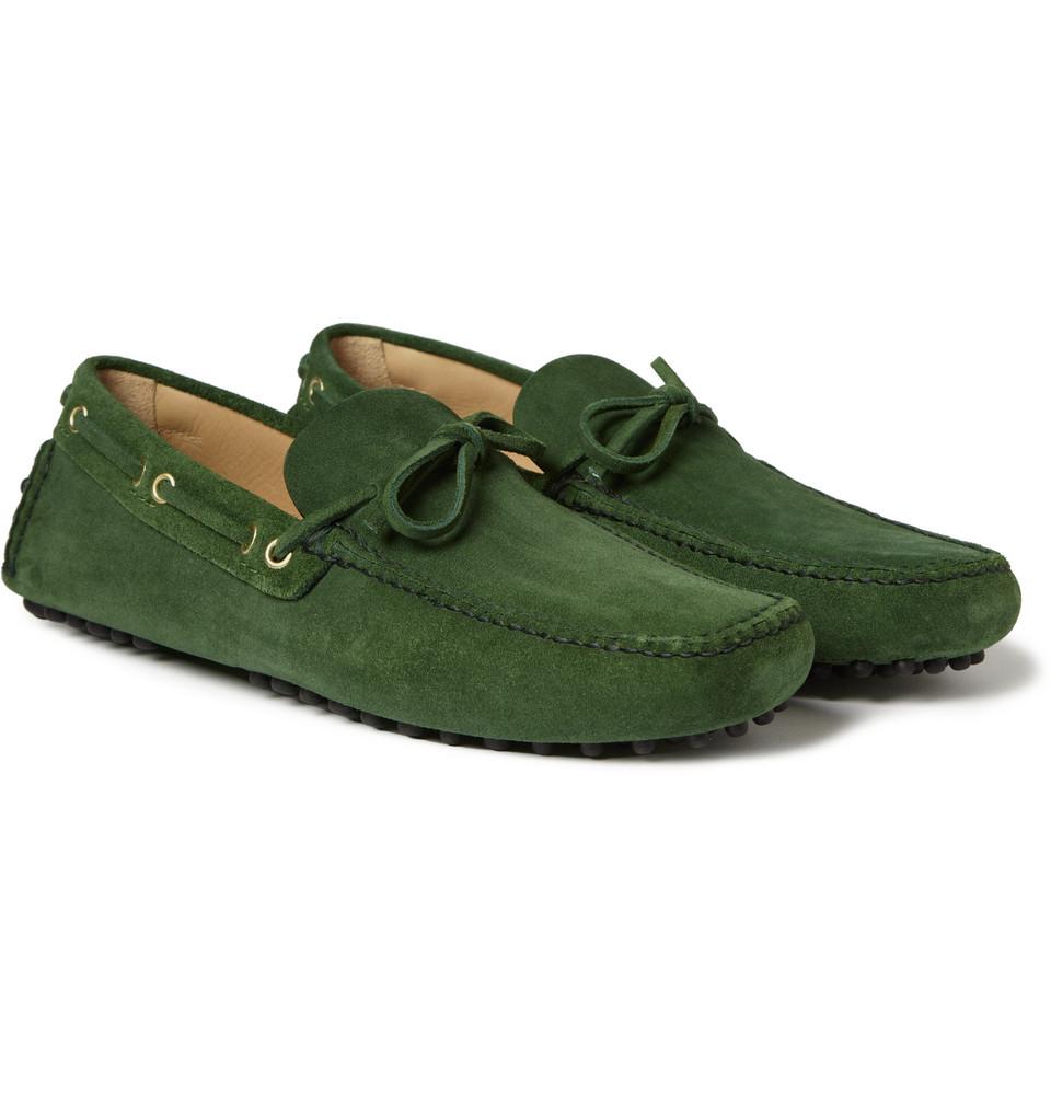 CAR SHOE men shoes Bottiglia green suede tie front driving mocassin gommini