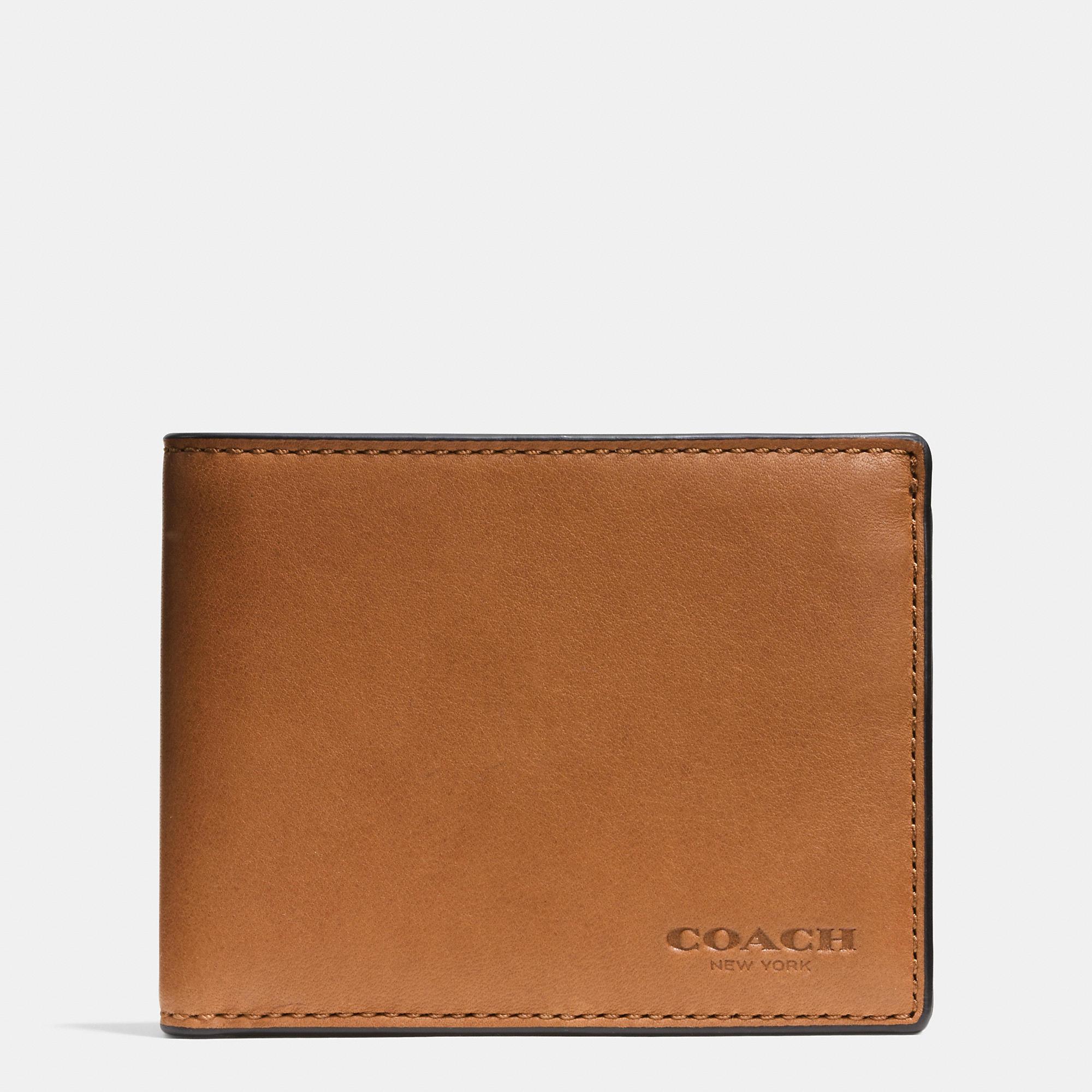 c49827cd2488e ... australia lyst coach slim billfold id wallet in sport calf leather in  brown 5b740 f6d36