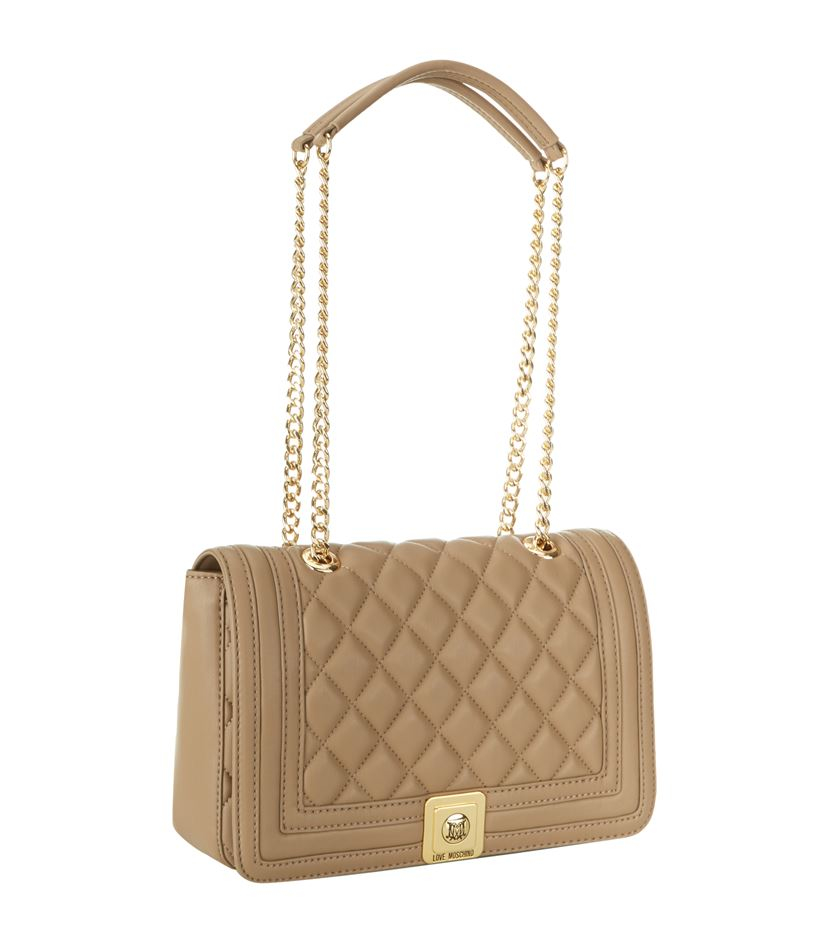 Love moschino Medium Quilted Shoulder Bag in Natural | Lyst