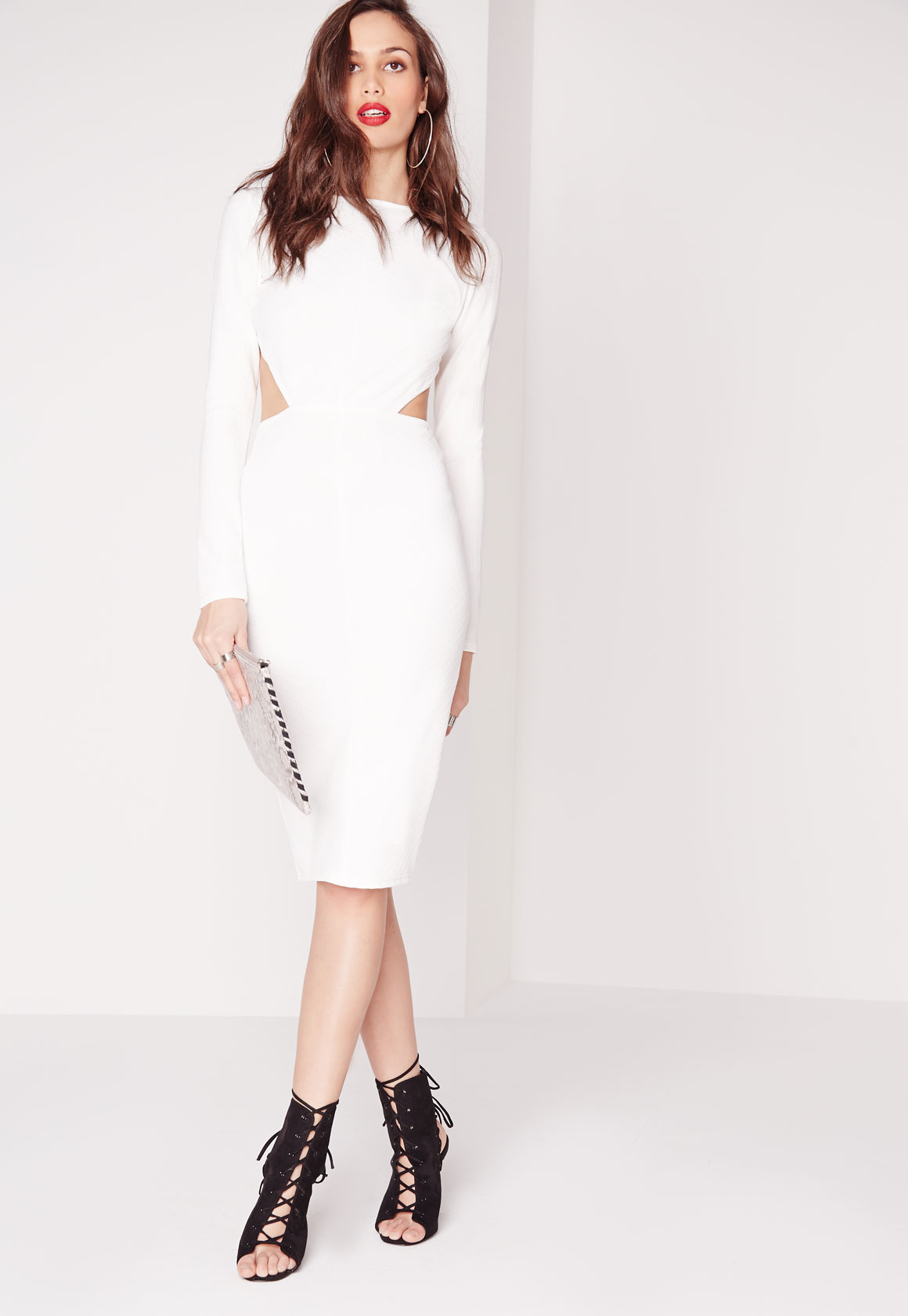 Missguided Textured Long Sleeve Open Back Midi Dress White